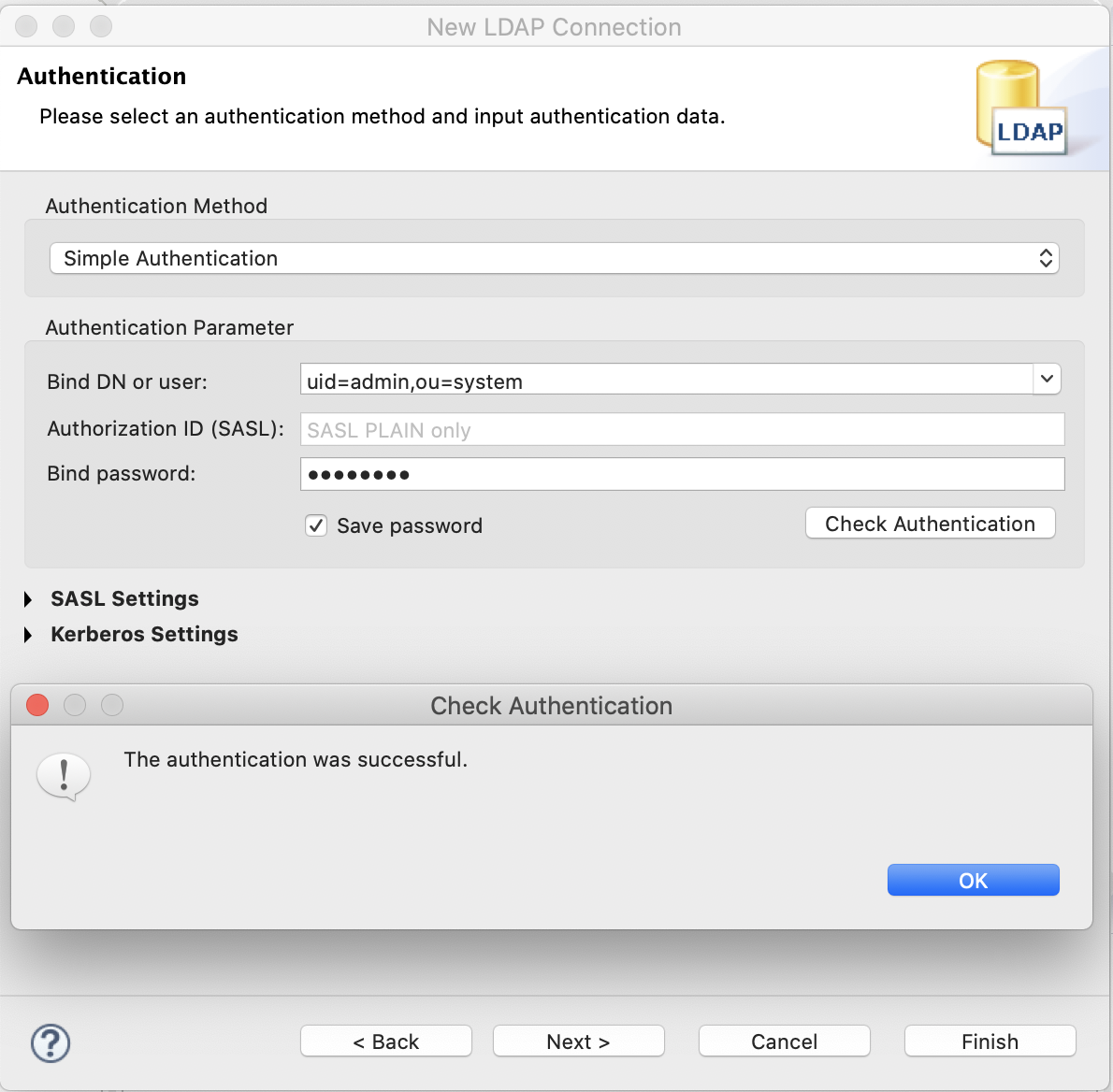 New LDAP Connection - Authenticaton